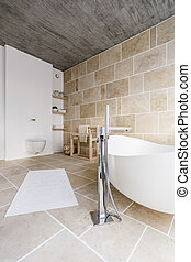 Bathtub in sand bathroom
