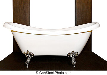 Old style bathtub with legs in wooden bathroom