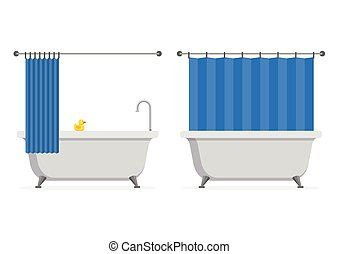 Bathtub open and closed shower curtain with yellow rubber duck isolated on white background. Bath time in flat style vector illustration
