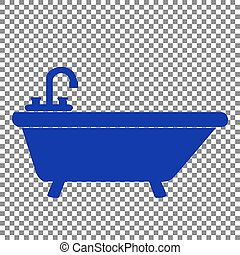 Bathtub sign illustration. Blue icon on transparent background.