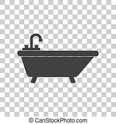Bathtub sign illustration. Dark gray icon on transparent background.
