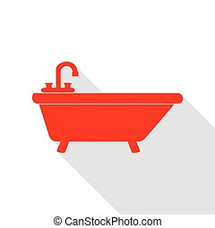 Bathtub sign illustration. Red icon with flat style shadow path.