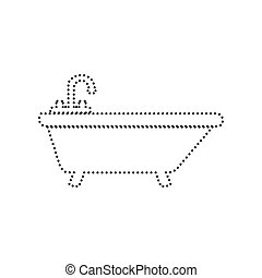 Bathtub sign illustration. Vector. Black dotted icon on white background. Isolated.