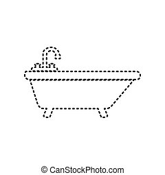 Bathtub sign illustration. Vector. Black dashed icon on white background. Isolated.