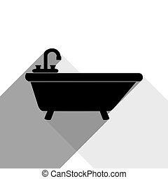 Bathtub sign illustration. Vector. Black icon with two flat gray shadows on white background.