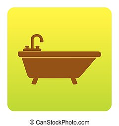 Bathtub sign illustration. Vector. Brown icon at green-yellow gradient square with rounded corners on white background. Isolated.