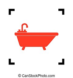 Bathtub sign illustration. Vector. Red icon inside black focus corners on white background. Isolated.