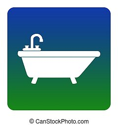 Bathtub sign illustration. Vector. White icon at green-blue gradient square with rounded corners on white background. Isolated.