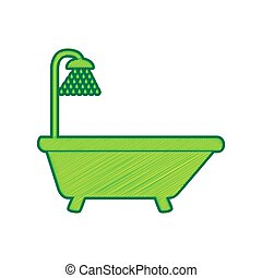 Bathtub sign. Vector. Lemon scribble icon on white background. Isolated