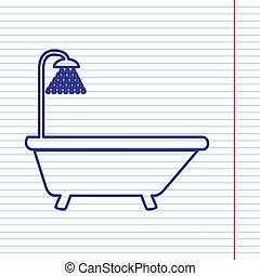 Bathtub sign. Vector. Navy line icon on notebook paper as background with red line for field.