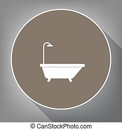 Bathtub sign. Vector. White icon on brown circle with white contour and long shadow at gray background. Like top view on postament.