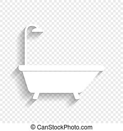 Bathtub sign. Vector. White icon with soft shadow on transparent background.