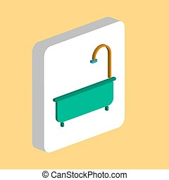 Bathtub Simple vector icon. Illustration symbol design template for web mobile UI element. Perfect color isometric pictogram on 3d white square. Bathtub icons for business project.