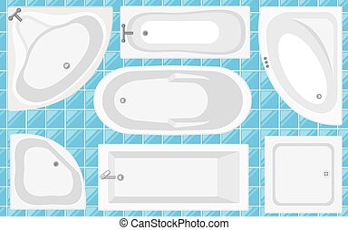 Bathtub top view collection. Vector illustration in flat style. Set of different tubs types.