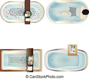Bathtub top view set 1