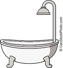 Bathtub vector cartoon illustration