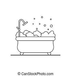Bathtub vector flat icon. Bathroom outline illustration.