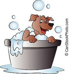 bathtub., vetorial, cão, feliz