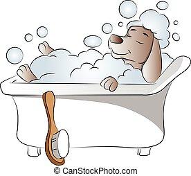 bathtub., vetorial, cão