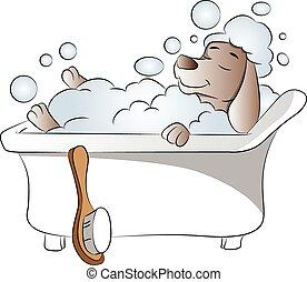 bathtub., vettore, cane