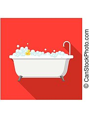 Bathtub with foam bubbles inside and bath yellow rubber duck on red background with shadow. Bath time icon in flat style vector illustration