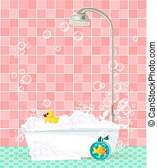 bathtub with foam, soap bubbles, rubber duck on pink tiled background
