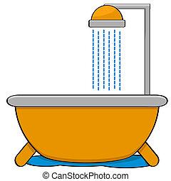 Bathtub with shower - Cartoon illustration showing a bathtub...