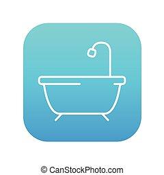 Bathtub with shower line icon.