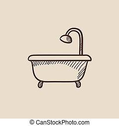 Bathtub with shower sketch icon.