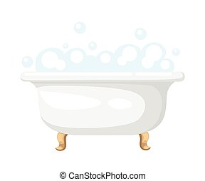 Bathtub with soapsuds in a tiled bathroom bathtub icon for interiors Flat design style vector illustration
