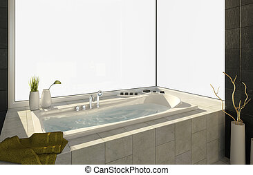 bathtub with views - Modern bathtub with big window isolated...