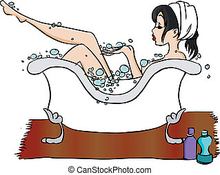 Bathtub - woman relaxing in hot bathtub