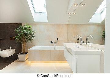 bathtube, badeværelse, moderne, belyst