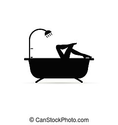 bathtube, girl, jambes, long, illustration
