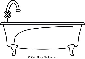 Bathtube icon, outline style
