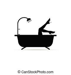 bathtube, ragazza, gambe, illustrazione