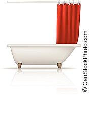 bathtube red curtain