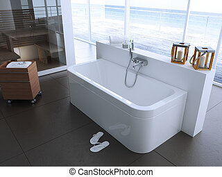 bathtube in an apartment, 3d rendering