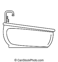 Bathtube water tap icon, outline style