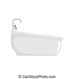 Bathtube with water tap icon, flat style