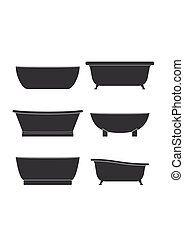 Bathtubs icons of different style and shape set isolated on white background vector illustration