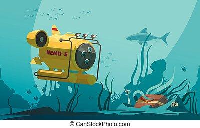 Bathyscaphe Diving Flat Composition