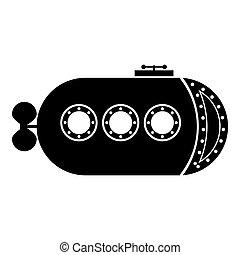 Bathyscaphe Underwater boat ship Submarine icon black color vector illustration flat style image