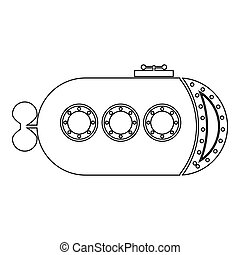 Bathyscaphe Underwater boat ship Submarine icon outline black color vector illustration flat style image