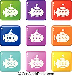 Bathyscaphe with horn icons set 9 color collection