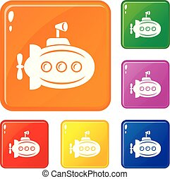 Bathyscaphe with horn icons set vector color