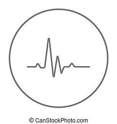 batida, cardiograma, hheart, linha, icon.