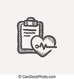 batida coração, ícone, esboço, registro