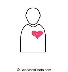 batida coração, branca, vetorial, ícone, homem