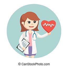batida coração, círculo, mulher, fundo, doutor